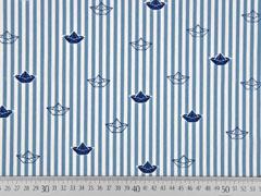 Baumwolle Streifen Boote, rauchblau