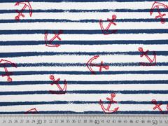 RESTSTÜCK 27 cm Sweatshirtstoff Streifen roter Anker angeraut weiß dunkelblau