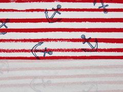 Sweatshirtstoff Streifen dunkelblauer Anker, angeraut,  weiß rot