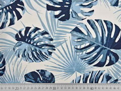 Canvas Palmblätter, rauchblau creme