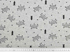Sweat Alpenfleece Füchse, schwarz grau