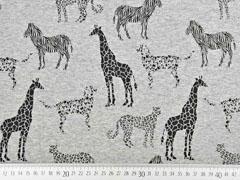 Sweat Alpenfleece Safari Tiere, schwarz grau