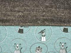 Sweat Alpenfleece Tiere im Kreis, altmint meliert