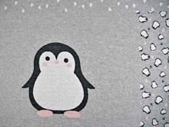 Jacquardjersey Panel Pinguin, grau