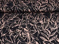 RESTSTÜCK 215 cm Viskosejersey Blätter, altrosa schwarz