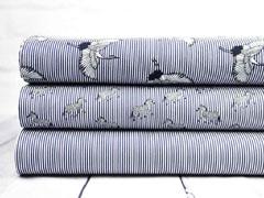 Elastische Baumwolle Streifen Zebras, weiß dunkelblau