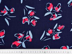 Viskose grafisches Muster Blumen, rot dunkelblau