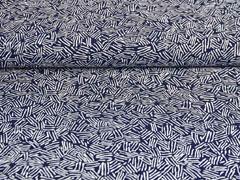 RESTSTÜCK 60 cm Viskose Striche, weiß dunkelblau