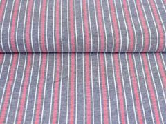 Baumwolle Leinen Streifen, rot weiß dunkelblau