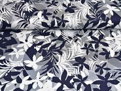 Baumwollsatin große Blätter, weiß dunkelblau