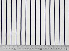 Baumwollsatin Streifen, dunkelblau weiß