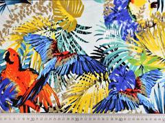 Viskosejerseystoff Blätter Papagei, bunt hellmint