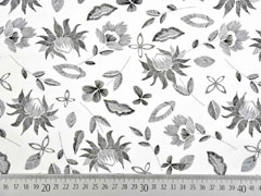 Baumwollstoff gestrichelte Blätter Blumen, schwarz weiß