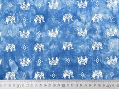 Viskose Batiklook Elefanten, weiß hellblau