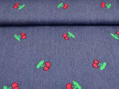 leichter Jeansstoff gestickte Kirschen, rot dunkelblau