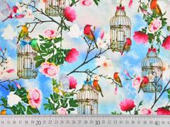 Jersey Digitaldruck Vögel Vogelkäfig, himmelblau