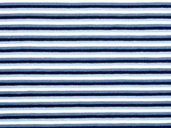 Jersey Ringelstreifen 3 mm garngefärbt, dunkelblau jeansblau weiß