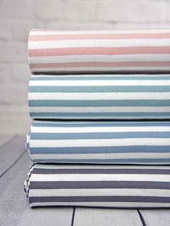 Jersey Streifen 1 cm garngefärbt, jeansblau weiß