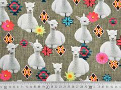 Canvas Digitalprint Lamas, weiß grau meliert