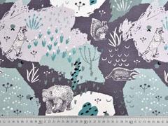 Jerseystoff (Eis)Bären Dachse Blumen, mint dunkelgrau