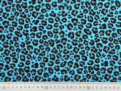 Jersey Leoparden Muster, schwarz türkis