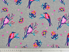 Sweatshirtstoff Vögel Blumen angeraut, grau meliert