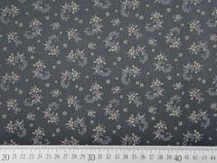 Baumwolle Dirndl Stoff Romantico Streublumen, taupe dunkelgrau