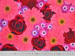 Jersey Digitaldruck große Blumen Rosen Gerbera, rosa