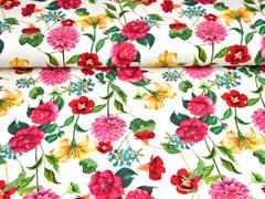 Jersey Digitaldruck Blumen Lilien, bunt cremeweiß