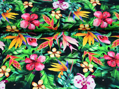RESTSTÜCK 40 cm Jersey Digitaldruck Dschungel Blumen Blätter Orchideen, grün schwarz