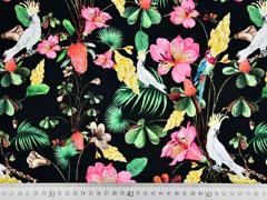 Jersey Digitaldruck tropische Vögel Blumen, bunt schwarz