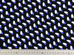 RESTSTÜCK 72 cm Viskose Ovale italienischer Stil, weiß blau schwarz