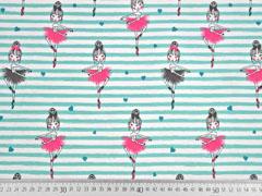 Jersey Streifen 5 mm Ballerinas, mint weiß