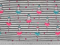 Jersey Streifen 5 mm Ballerinas, grau weiß