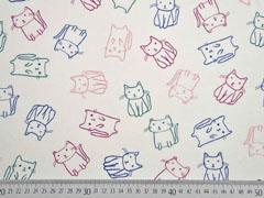 Jersey Katzen Doodle Cats, bunt cremeweiß