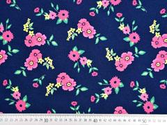 Jersey Blumen Blätter, rosa pink dunkelblau