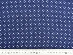 Baumwollstoff kleine Punkte Petite Dots, weiß dunkelblau