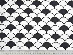 Baumwollstoff Fächer, schwarz weiß