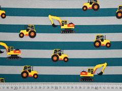 Softshell Streifen Bagger Traktoren, petrol grau