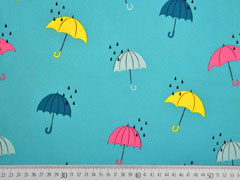 Softshell Stoff  Regenschirme, bunt aquamarin