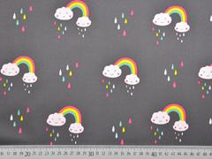 Softshell Stoff  Regenbogen Tropfen Wolken, grau