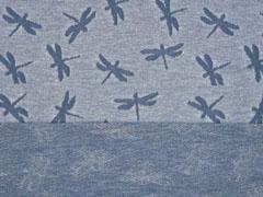 Jacquard Jersey Libellen, jeansblau