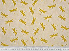 Jacquard Jersey Libellen, senfgelb