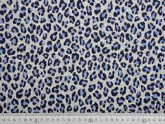 French Terry Sweat Leopardenmuster silber Glitzer, jeansblau grau melange