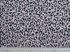 French Terry Sweat Leopardenmuster silber Glitzer, altrosa grau melange