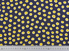 Blusenstoff Crepe Punkte, gelb weiß dunkelblau