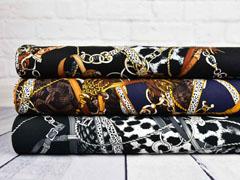 Viskosetwill Ketten Lederriemen Quasten Animal Print, grau schwarz