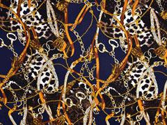 Viskosetwill Ketten Lederriemen Quasten Animal Print, cognac dunkelblau