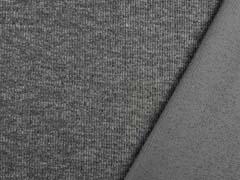 Strickstoff Rippenstruktur, grau meliert