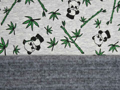 Alpenfleece Magic Sweat UV-Licht Farbeffekt Pandas, grau meliert